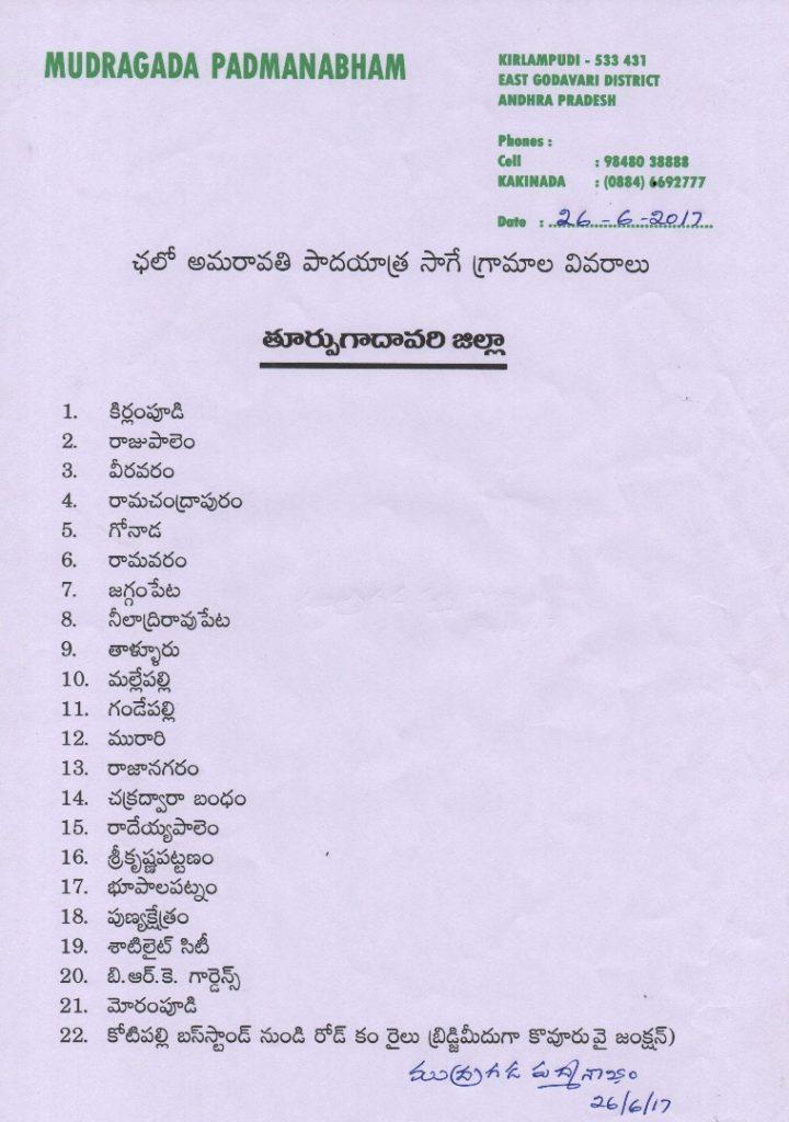 mudragada wrote letter to Chandrababu about padayatra