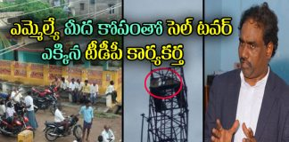 tdp Activist climb on cell tower demands to ravela kishore