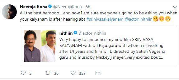 neeraja Kona Tweet on Nithin Movie