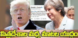trump and theresa may war in twitter