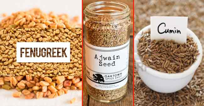 Health Benefits of Fenugreek Ajwain and Cumin powder