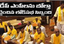 TDP MPs Protest in front of PM Modi Seat In Parliament