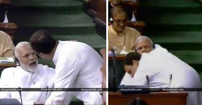 Rahul Gandhi hugs PM Narendra Modi