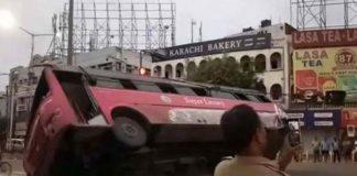 luxury bus fell down in hyderabad