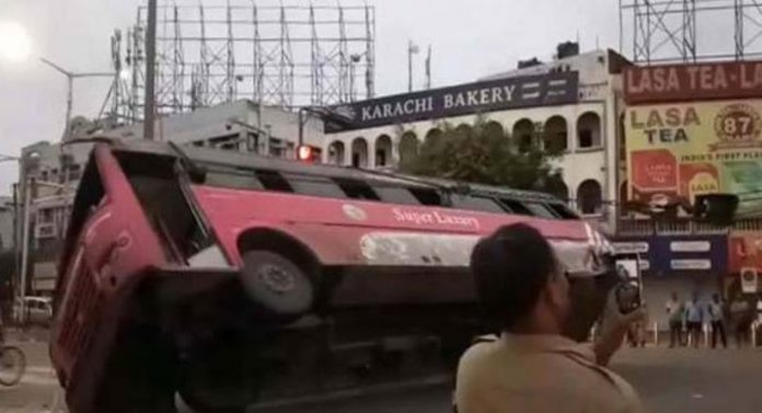 luxury bus fell down in hyderabad